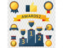 漂亮的奖杯奖牌和徽章矢量素材