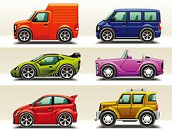 可爱卡通汽车矢量素材(3)