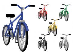 多种颜色的自行车矢量素材