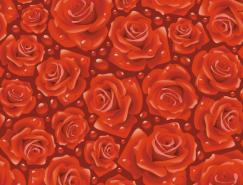 玫瑰花无缝背景矢量素材