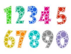 彩色圆点☆组成的数字PSD素材