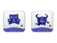 青花瓷风格十二生肖PNG图标256x256
