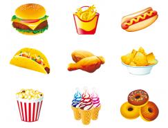 西式快餐食品矢量素材(2)