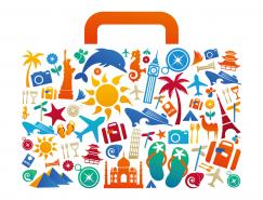 旅游元素组成的旅行包矢量素材