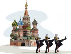 俄罗斯城堡和士兵矢量素材