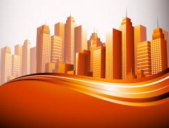 繁华城市高楼大厦背景矢量素
