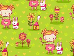 可爱卡通女孩和花朵无缝背景矢量素材