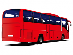 红色旅游大巴矢量素材