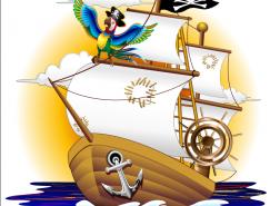 可爱的卡通海盗船和鹦鹉矢量