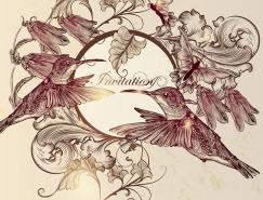 复古版画风格蜂鸟与花朵矢量素材