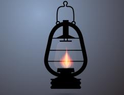 复古煤油灯矢量素材
