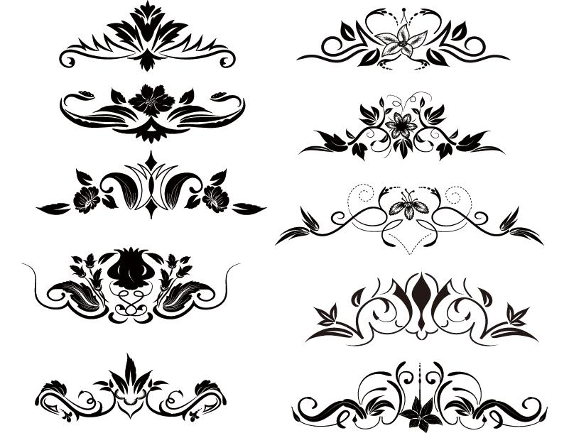 漂亮的装饰花纹花边矢量素材
