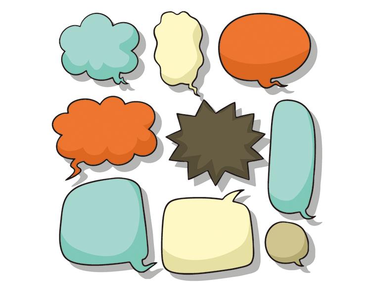 可爱的气泡爆炸式对话框矢量素材