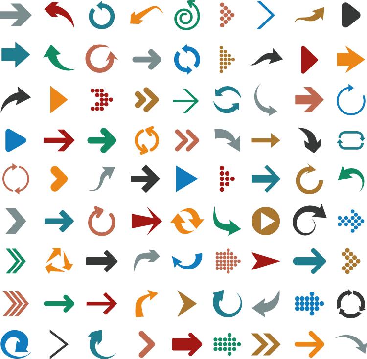 箭头设计,图标,动感箭头,点状箭头,黑色箭头,红色箭头,旋转箭头,矢量