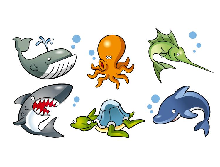 卡通海洋动物矢量素材