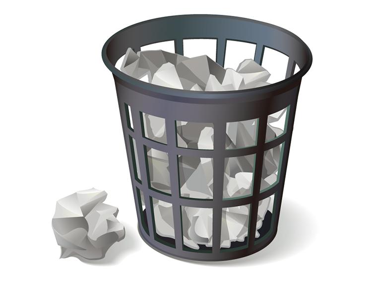 eps格式,废纸篓,垃圾桶,纸团,矢量图图片