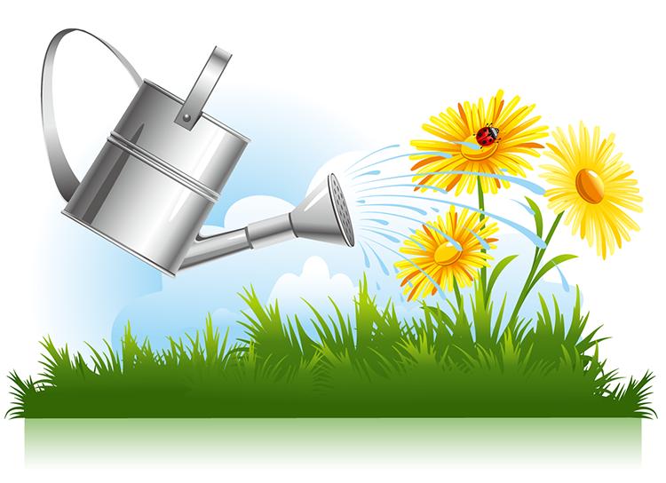 eps格式,浇水壶,花朵,绿地,蓝天白云,矢量图