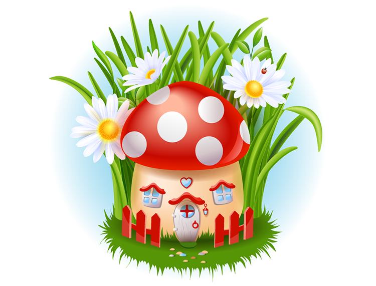 可爱的蘑菇屋矢量素材 设计之家