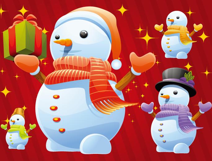 红色背景可爱卡通雪人矢量素材