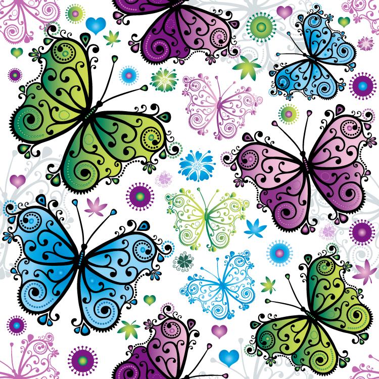 色彩缤纷的蝴蝶背景矢量素材(2) - 设计之家