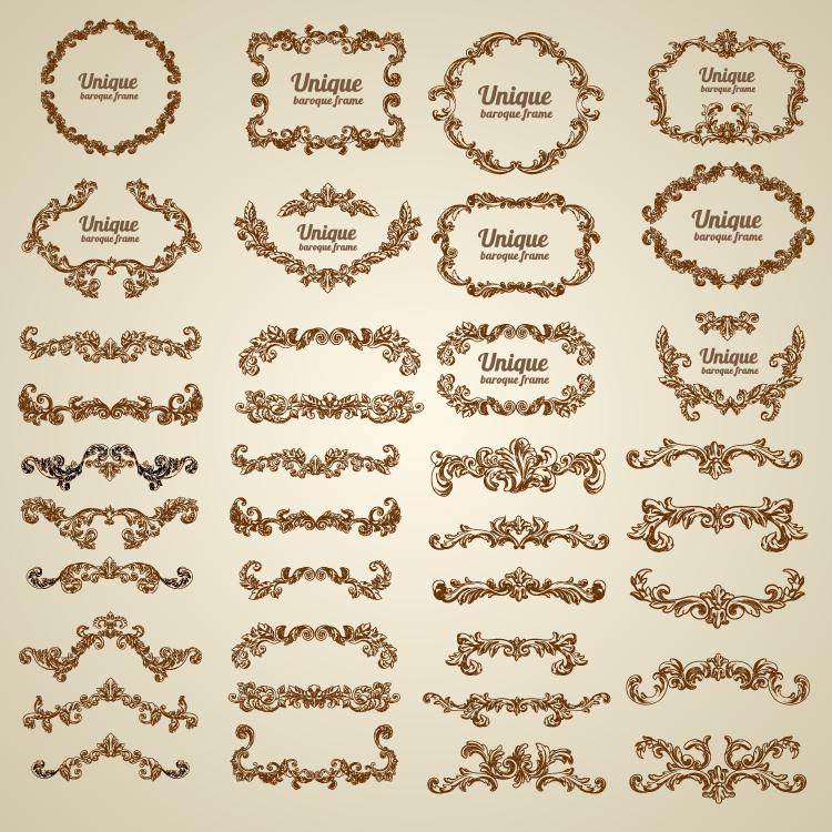 复古欧式花纹装饰边框矢量素材图片