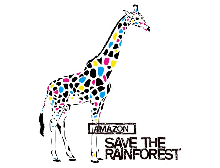 彩色长颈鹿矢量素材