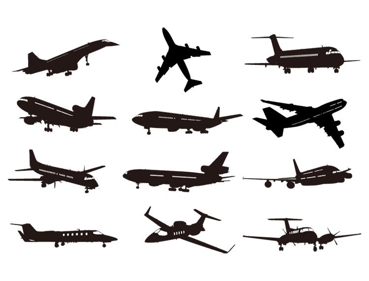 各种飞机剪影矢量素材