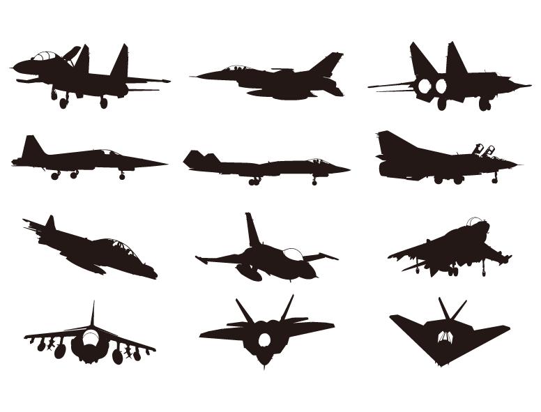 飞机剪影矢量图