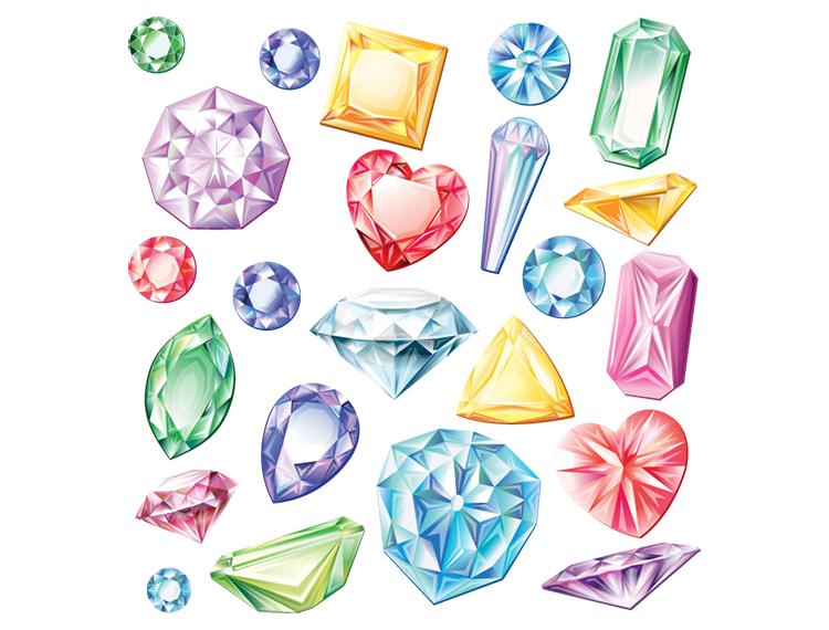 彩色钻石矢量素材(2)