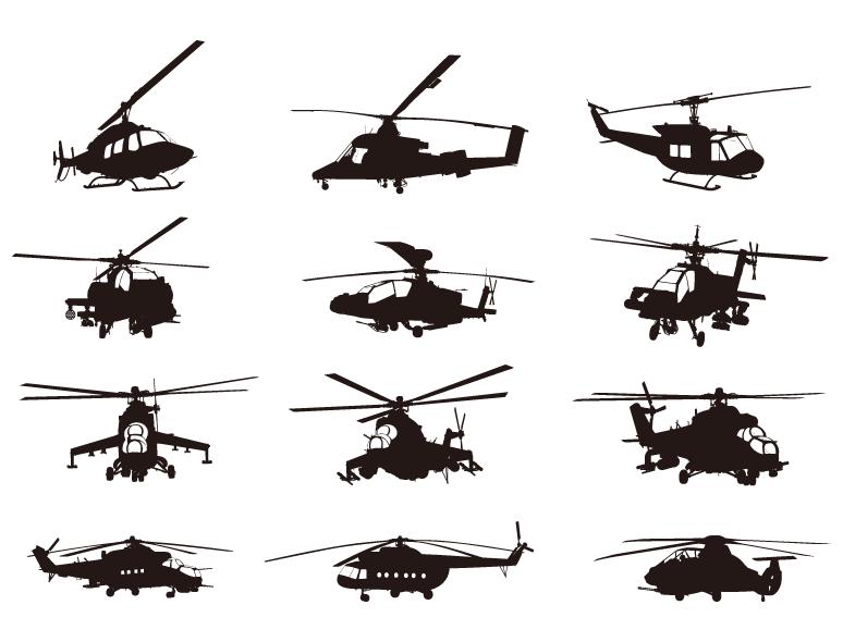 直升飞机剪影矢量素材