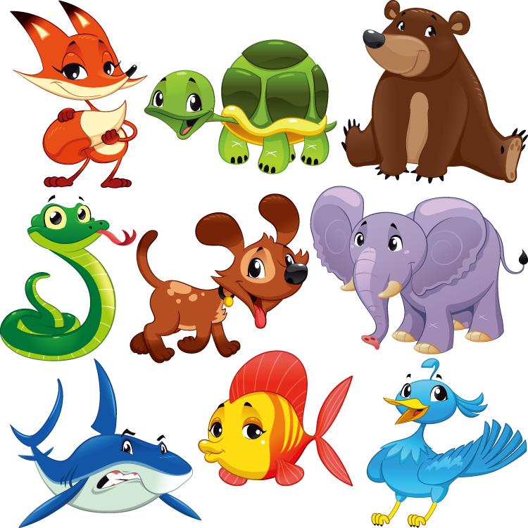 9个可爱的卡通动物矢量素材