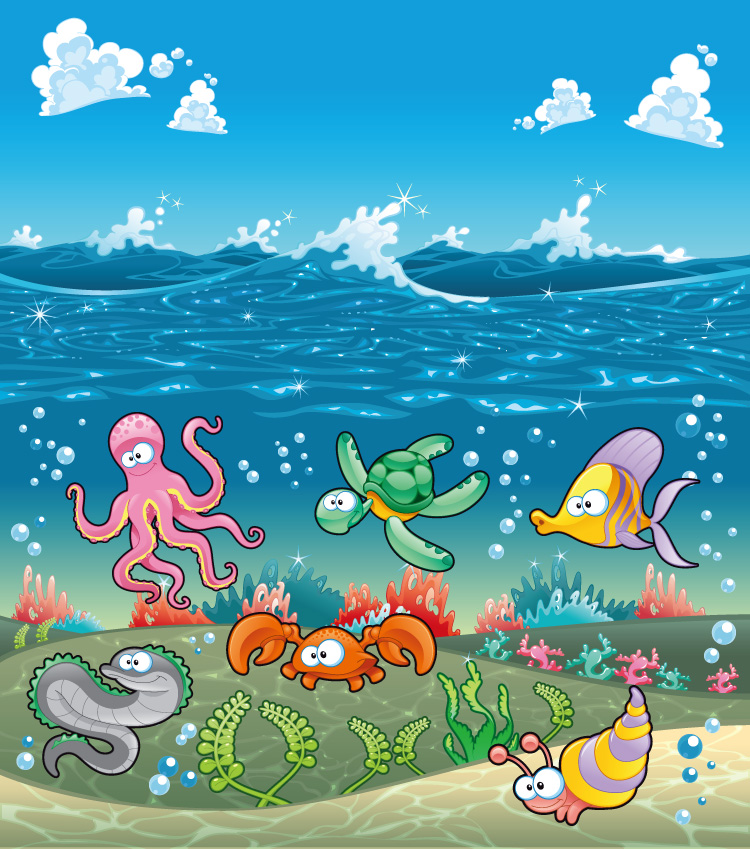 海浪,海洋,海水,白云,海底,珊瑚,海草,章鱼,海龟,螃蟹,鱼,海洋动物图片