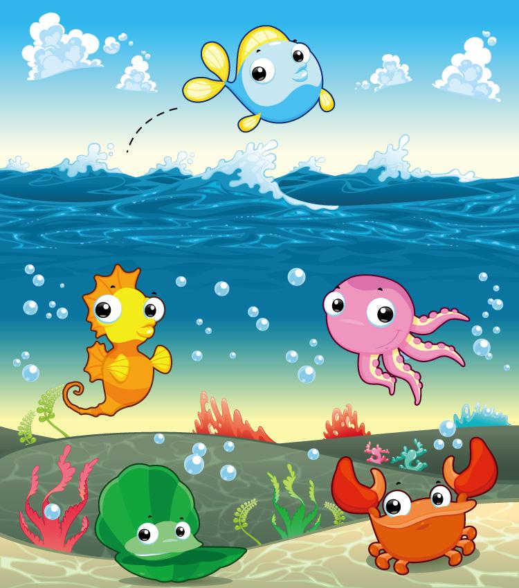 海底世界和海洋动物矢量素材