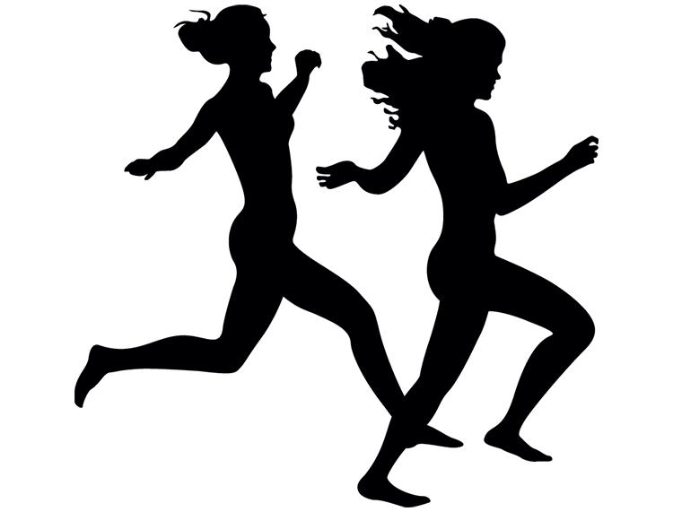 跑步女孩剪影矢量素材