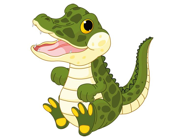 可爱卡通鳄鱼矢量素材