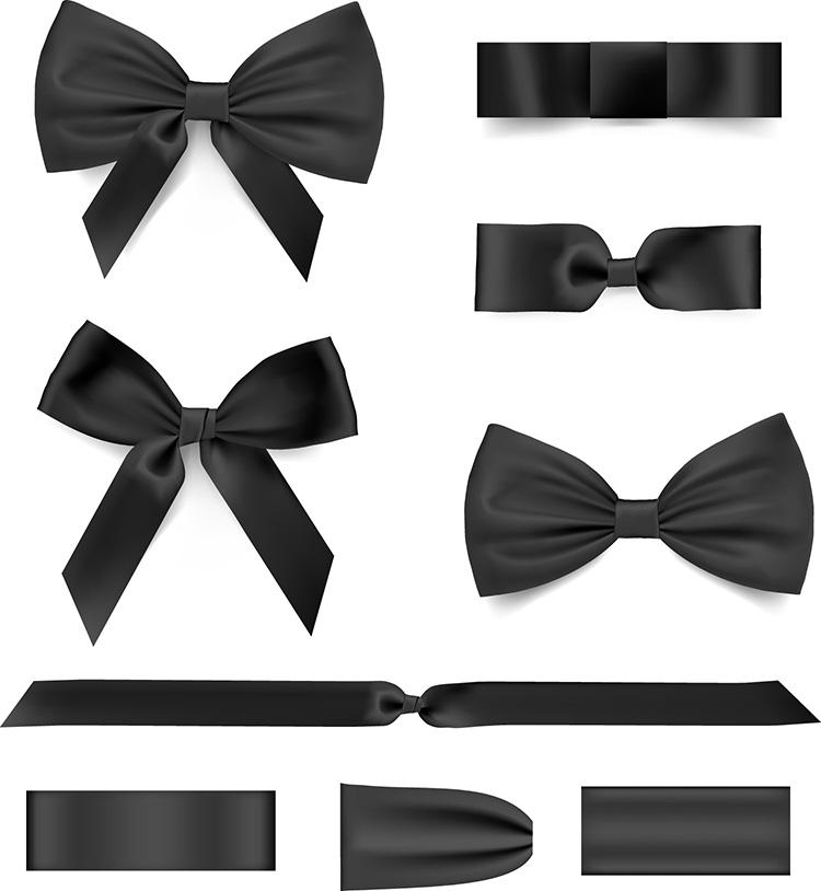 黑白两色蝴蝶结和丝带矢量素材