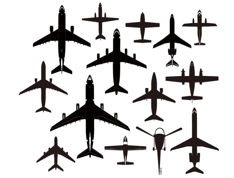 多款飞机剪影矢量素材