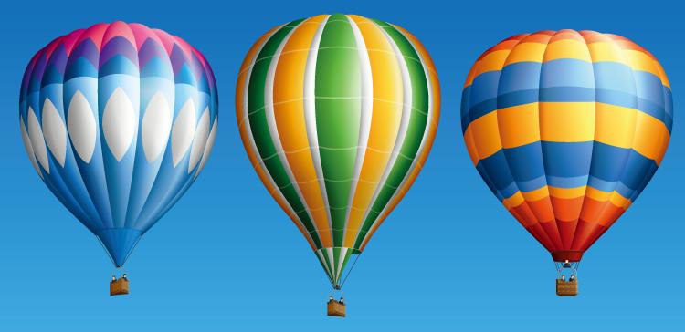 3个漂亮的彩色热气球矢量素材 - 设计之家