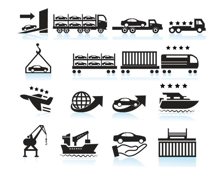 轿车运输图标矢量素材