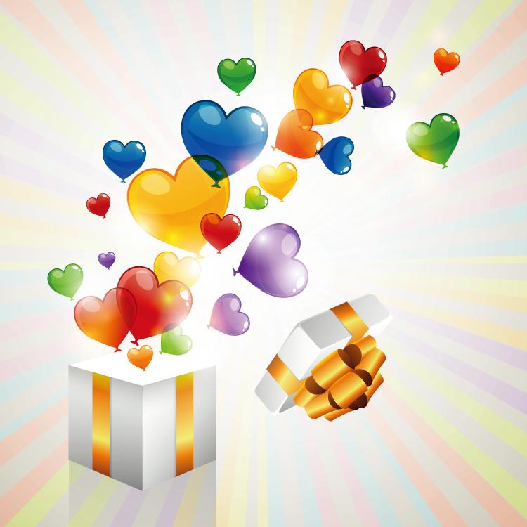 礼盒和彩色心形气球矢量素材