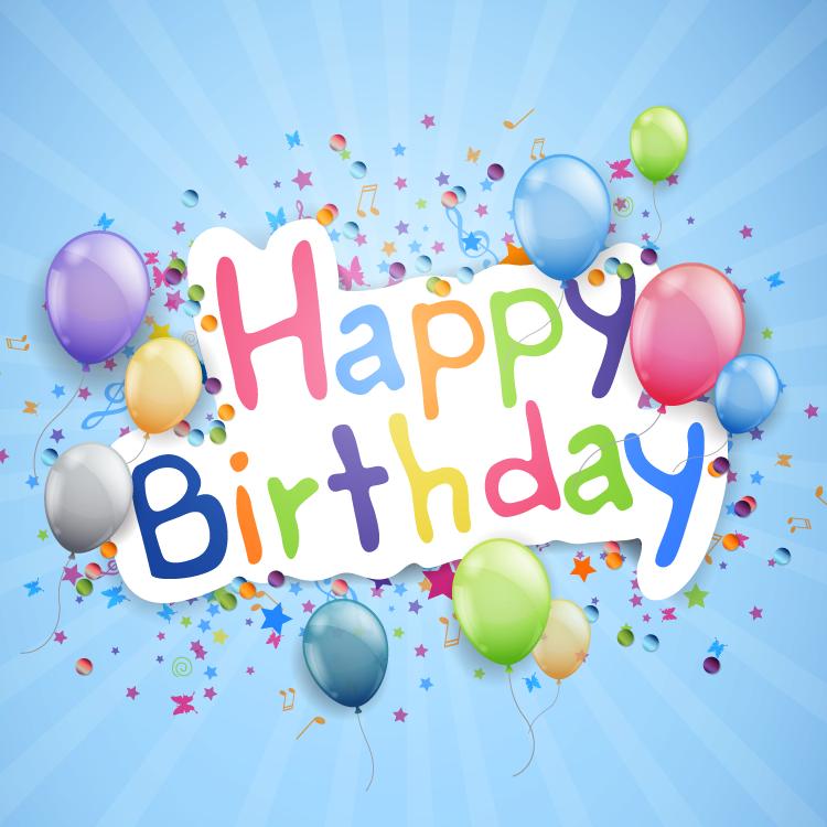缤纷气球创意生日快乐背景矢量素材