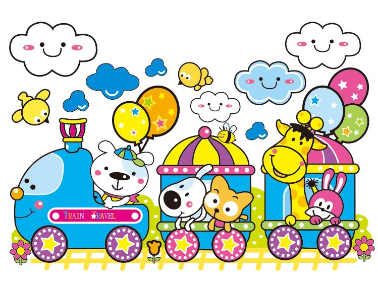 可爱卡通火车和动物矢量素材图片