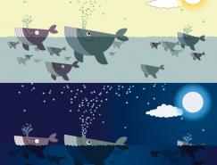可爱卡通鲸鱼矢量素材