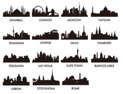 世界著名城市地标建筑剪影矢量素材