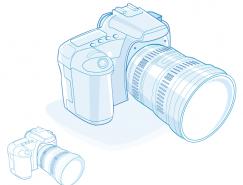 線描單反數碼相機矢量素材