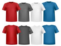 4种色彩圆领T恤矢量素材