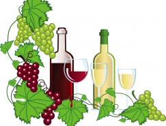 葡萄酒和葡萄矢量素材