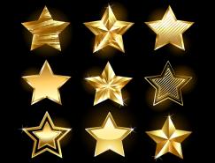 9款闪亮的金色五角星矢量素材
