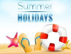 清新夏日度假沙灘元素矢量素材