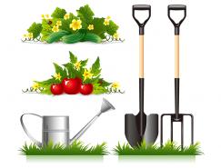 园丁工具和蔬菜田矢量素材